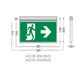 MLD-28D/w - Corp de iluminat de urgenta cu LED, autonomie 180 min