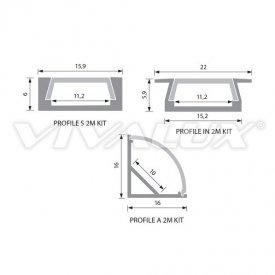 Profil LED aparent, tip IN2M, aluminiu, lungime 2m