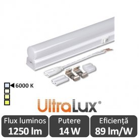 Ultralux Tub LED Thermoplastic 14W T5 1200mm 6000K alb-rece