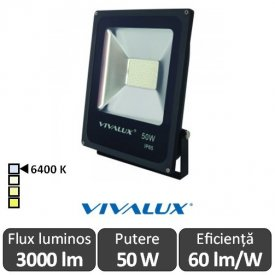 Vivalux - Proiector HELIOS LED de Exterior 50W IP65 6400K Alb-Rece Culoare Negru