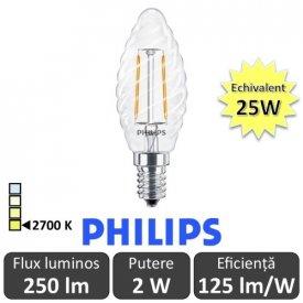 Bec LED Philips - Classic Filament LED 2W ST35 E14 827 alb-cald