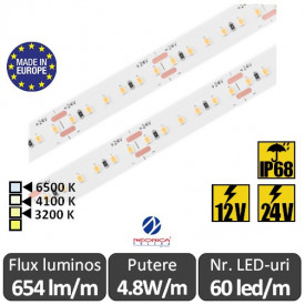 Bandă LED flexibilă SMD2216 4.8W/m IP68 60led/m 12-24V