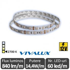 Bandă LED flexibilă - Vivalux Mega LED SMD5050 14,4W/m 12V rolă 5m alb-cald