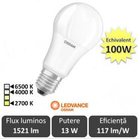 Bec LED Osram Ledvance - bulb CLA 13W A60 E27 alb-cald/alb-neutru sau rece