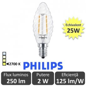 Bec LED Philips - Classic Filament LED 2W ST35 E14 827 alb-cald