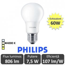 Bec LED Philips - CorePro LED bulb 7,5W A60 230V E27 alb-neutru