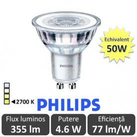 Bec LED Philips - CorePro LEDspotMV 4,6-50W GU10 827 36D alb-cald