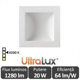 Downlight Led Pătrat Lumină Indirectă 20W 4200K ( Alb-Neutru )