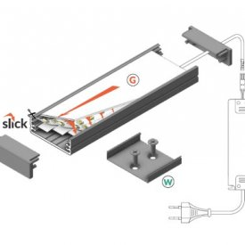 Profil LED aparent WIDE 24, aluminiu anodizat, lungime 2m