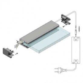 Profil LED pentru sticlă MIKRO-LINE 12, aluminiu anodizat, lungime 2m