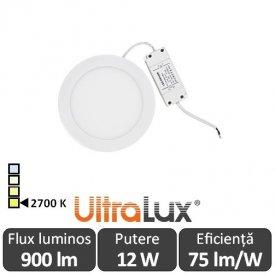 Ultralux Panou Led Rotund 12W Alb-Cald LPRB1801227