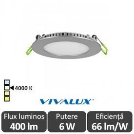 Vivalux Panou ESTE LED Rotund 6W CL/SR 4000K Aluminiu
