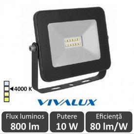 Vivalux - Proiector TREND LED de Exterior 10W IP65 4000K Alb-Neutru Culoare Negru
