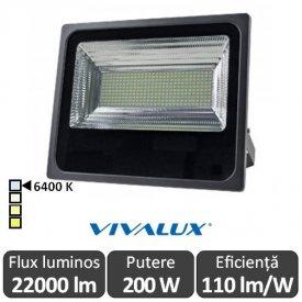 Vivalux - Proiector VIGOR LED de Exterior 200W IP66 6400K Alb-Rece Culoare Negru