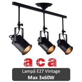 Lampă suspendată Aca Lighting 3xE27 Negru sau Alb-Auriu