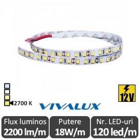 Bandă LED flexibilă - Vivalux Galo LED SMD2835 18W/m 12V rolă 5m alb-cald