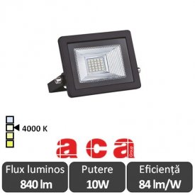 Aca Lighting - Proiector LED de Exterior 10W IP66 4000K Alb-Neutru Negru