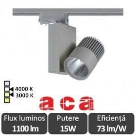 ACA Reflector interior șina Bienal 15W 3000/4000K Alb/Negru/Gri