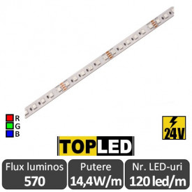 Bandă LED flexibilă -Top Led RGB 120led/m 14.4W/m IP20 24V, rolă 5m