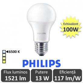 Bec LED Philips - CorePro LED bulb 13W A60 230V E27 alb-rece