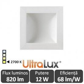 Downlight Led Pătrat Lumină Indirectă 12W 2700K ( Alb-Cald )