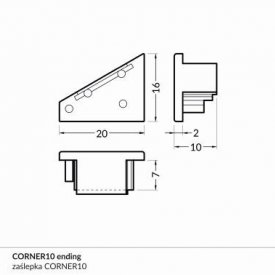 Element capat profil LED Corner10 -set 2buc
