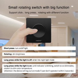 MiBoxer Dimmer Rotativ Monocolor/CCT Perete 1 zonă RF Negru
