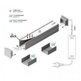 Schema montaj profil LED tip SMART16