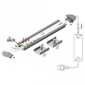 Profil LED încastrat BEGTIN 12, aluminiu anodizat, lungime 2m