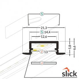 Profil LED încastrat BEGTIN 12, negru, lungime 2m