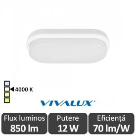 Vivalux ELLIS/O Led 12W IP54 4000K Alb-Neutru