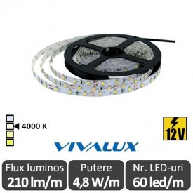 Bandă LED flexibilă - Vivalux Coda LED 4,8W/m 12V rolă 5m alb-neutru