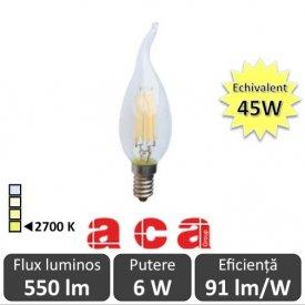 Bec LED Aca - Classic Filament LED 6W Deco E14 2700K alb-cald