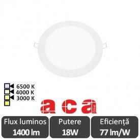ACA Lighting Plato Panou Led Rotund Alb 18W 3000/4000/6500K