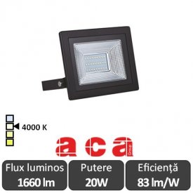 Aca Lighting  - Proiector LED de Exterior 20W IP66 4000K Alb-Neutru Negru