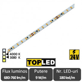 Bandă LED flexibilă SLIM - SMD2216 9W/m 24V 180led/m rolă 5m alb-cald sau alb-neutru