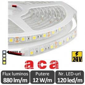 Bandă LED flexibilă - SMD2835 12W/m 24V rolă 5m alb-rece