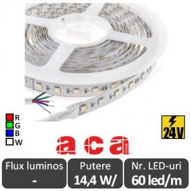Bandă LED flexibilă - SMD5050 14.4W/m 24V rolă 5m RGB+White 3000K