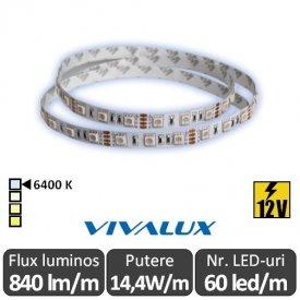 Bandă LED flexibilă - Vivalux Mega LED SMD5050 14,4W/m 12V rolă 5m alb-rece