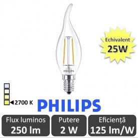 Bec LED Philips - Classic Filament LED 2W BA35 E14 827 alb-cald