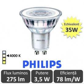 Bec LED Philips - CorePro LEDspotMV 3.5W GU10 840 36D alb-neutru