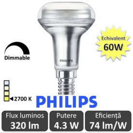 Bec LED Philips - LED reflector R50 4,5W 230V E14 36D DIM alb-cald