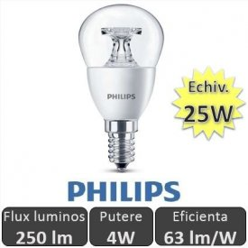 Bec LED Philips - LEDluster 4W E14 230V P45 CL alb-cald