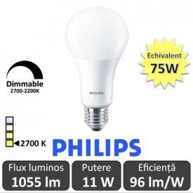 Bec LED Philips - Master LED bulb frosted DimTone 11W A67 230V E27 alb-cald