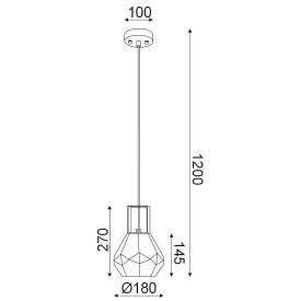 CORP SUSPENDAT ACA LIGHTING V371481PC METAL NEGRU MAT STICLA TRANSPARENTA E27