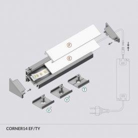 Profil LED de colț CORNER 14, alb, lungime 2m