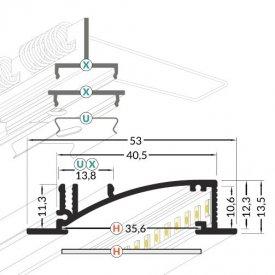 Profil LED încastrat FLAT 8, alb, lungime 2m