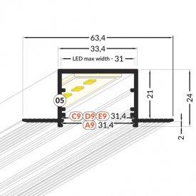 Profil LED încastrat VARIO 30-05, aluminiu neanodizat, lungime 2m