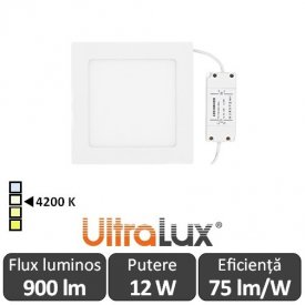Ultralux Panou Led 12W Alb-Neutru LPSB1801242