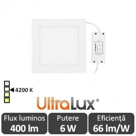 Ultralux Panou Led 6W Alb-Neutru LPSB105642